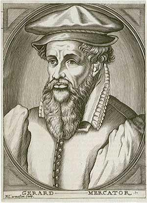 De oude kaarten van Gerard Mercator